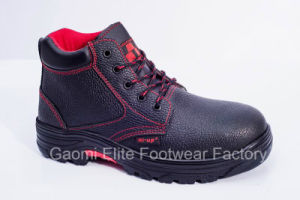 High Cut Black Embossed Buffalo Leather Safety Shoe Valued-R2