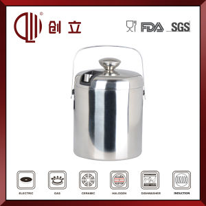 1.3L Double Wall Metal Ice Bucket with Tongs