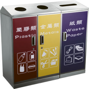Three Compartments Recycling Waste Bin with Stainless Steel (HW-161) pictures & photos