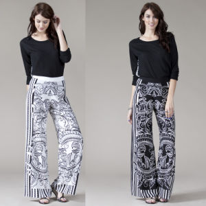 Women′s Mandala Print Wide Legged Palazzo Pants Trousers pictures & photos
