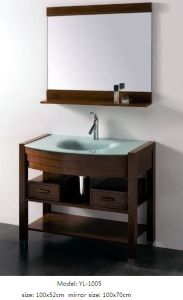 Wooden Vanity Bathroom Cabinet with Glass Basin Mirror