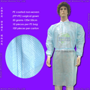 Polypropylene Nonwoven/SMS/PP+PE/Medical/Hospital Patient/Polyethylene/PE/CPE/PP Disposable Surgical Gown, Disposable Isolation Gown, Disposable Surgeon Gown pictures & photos
