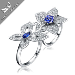 New Butterfly and Flowers Sterling Silver Party Charm Gemstone Lady Ring