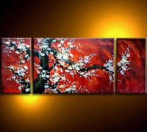 Modern Canvas Art Cherry Blossom Flower Oil Painting on Canvas (FL3-032) pictures & photos