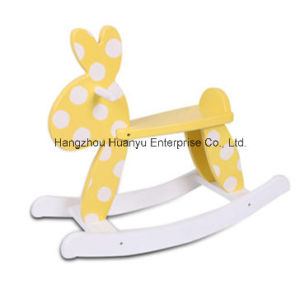 High Quality Wooden Rocking Animal-Yellow Rabbit Rocker pictures & photos