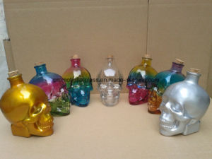 Skull Head Shaped Glass Bottle with Cork