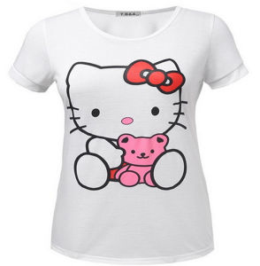 China Factory Customized Cotton Printed Hello Kitty Female T Shirt pictures & photos