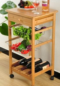 Bamboo Kitchen Trolly Kitchen Storage Bamboo Wine Holder pictures & photos