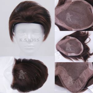 The Best Quality Human Hair Virgin Remy Men′s Toupee Hair pictures & photos