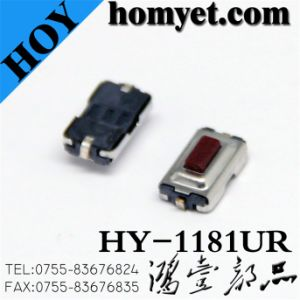Square Red Button Sidepush Tact Switch with 4*3*1.5mm 2pin SMT Type (HY-1181UR) pictures & photos