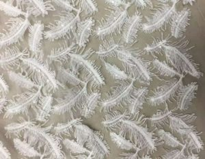 Feather Sequins Embroidery Lace Fabric for High Quality Women Dress pictures & photos