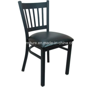 Vertical Back Metal Restaurant Chair with Vinyl Seat