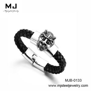 Stainless Steel Leather Bracelet for Men (MJB-0133)