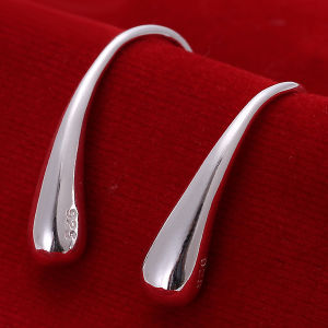 Hot Sale Simple Design Stealing Silver Earring Drop Shaped Earring Fashion Jewelry for Women pictures & photos