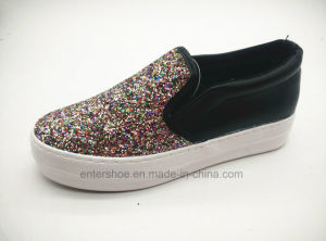 Vulcanized Women Fashion Leisure Shoe with Glitter Upper (ET-LD160104W) pictures & photos