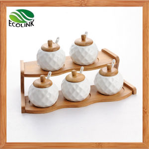 5 Pieces Ceramic Spice Jar with Bamboo Rack pictures & photos