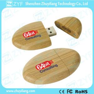 Oval Shape Bamboo USB Pen Drive with Silkscreen Logo (ZYF1345) pictures & photos