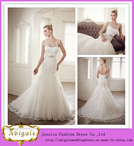 Newest Charming Full Length Boat Neckline Sleeveless Sweep Train Appliqued Mermaid White Wedding Dress with Detachable Sash (FL10007)
