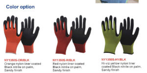 Winter Use Knitted Double Liner Coated Foam Nitrile Gloves pictures & photos