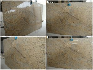 Polished Crystal Golden Flower Granite Stone Slabs, Countertops, Floor Tiles pictures & photos
