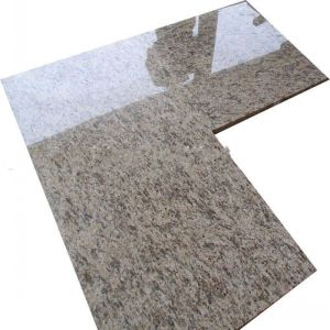 "Custom Cutting Combined ""L""Shape Giallo Ornamental Granite Kitchen Countertop pictures & photos"