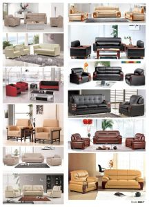 Black Pure Leather Cowhide Modern Office Sofa pictures & photos