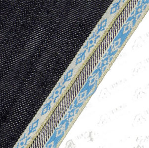 12.8oz Jacquard Super Dark Indigo Selvedge Twill Denim Fabric109