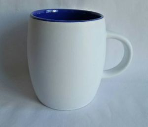 14 Oz Outside White Inner Blue Ceramic & Coffee Mug pictures & photos