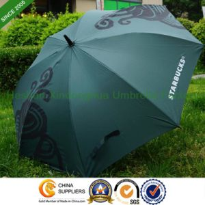 Rubber Hook Handle Automatic Golf Umbrella for Starbucks (GOL-0027FA) pictures & photos