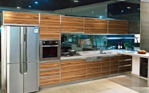 Favorites Compare Modular High Gloss Wood Grain Kitchen Cabinet pictures & photos