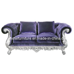 Chinese Wooden Silver-Leaf Classical Fabric Sofa pictures & photos