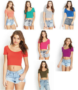 100% Cotton Casual Blank Plain T Shirt for Women Tops pictures & photos