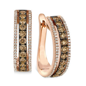18k Gold Diamond Jewelry Hoop Earrings with Black Rhodium Plating pictures & photos