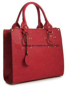 High Quality PU Leather Women Handbag Double Pocket Business Bag pictures & photos