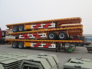 Hot Seller 2 Axles 40ft and 20ft Container Flatbed Trailer pictures & photos