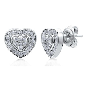 Wholesales Heart Shape 925 Sterling Silver Stud Earrings with CZ pictures & photos