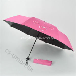 Pg with Black Coated Fabric 3 Fold Umbrella (YS3F0009) pictures & photos
