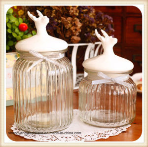 Glass Candy Storage Jar with Ceramic Lid pictures & photos