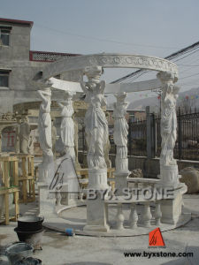 Marble Lady Carving Garden Gazebo for Outdoor Decoration pictures & photos