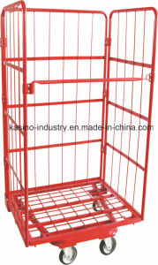Three Sided Front Open Foldable Steel Mesh Pallet/Storage Trolley Cart Tc4626 pictures & photos