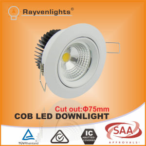 10W IP64 LED COB Downlight Cutout 75mm for Bathroom Lighting