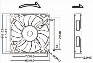 Low Noise 12V DC Fan 8015 80mm 80X80X15mm Cooling Fan for Audio Equipments pictures & photos