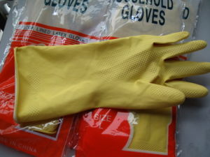 Dipping Flock Line Rubber Household Gloves pictures & photos
