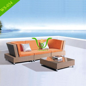 Orange Aluminum Wicker Weaving Sectional Rattan Sofa Set