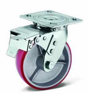 Heavy Duty Flat Plate Swivel with Total Brake PU Caster (04S04B1100.50UIR)