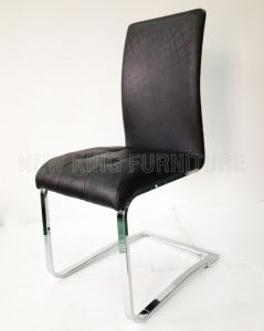 Modern Luxurious Fashion Chrome Steel Foot PU Leather Dining Chair (NK-DC060)