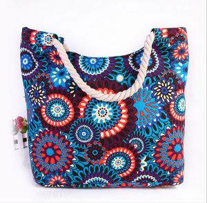 Printed Canvas Shoulder Bag Fashion Canvas Mummy Bag Cotton Rope Handbag Beach Bag pictures & photos