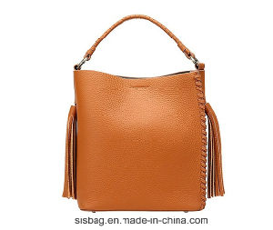 New Fashion PU Weave Tote Bag Tassel Lady Bucket Bag pictures & photos
