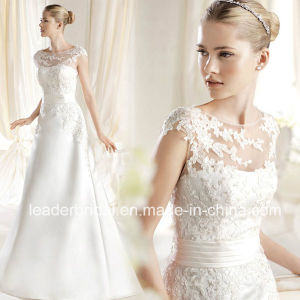Sheer Lace Neckline Wedding Dress Satin Bodice Bridal Gown W15249 pictures & photos