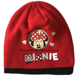 Custom Made Cartoon Printed Acrylic Winter Red Customized Children′s Knit Beanie Hat pictures & photos